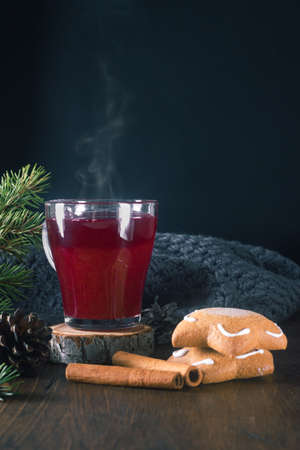 Hot cranberry punch or tea with spices cinnamon sticks and ginger bread cookies decorated fur tree brunches for winter and Christmas evening. Vertical orientation. Copy space.