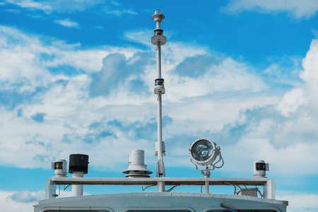 Marine navigation equipment. Communication mast of modern 写真素材