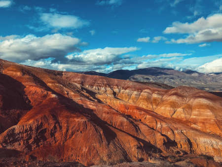 Summer landscape of red mountains. Mountain Mars