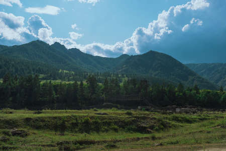 Summer landscape with mountains and bridge. the background. 写真素材