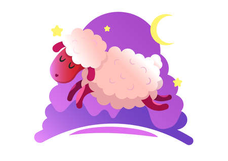 Gumping lambs in the night sky with stars and moon. Vector illustration