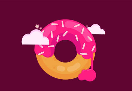 Big pink donut on a purple background in the clouds.
