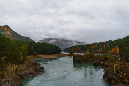 Beautiful autumn landscape of forest mountains in fog after rain. The Great Altai Mountains are the best place for recreation and tourism. The Katun River flows at the foot of the mountains.