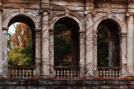 Abandoned sanatorium Ordzhonikidze in Sochi. Tall columns, sculptures with vegetation and palm trees.