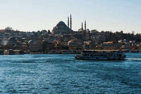 Great Mosque in Istanbul. View from a high bridge, where local fishermen fish with fishing rods. 写真素材