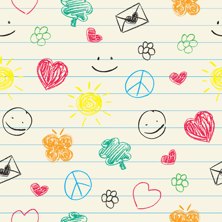 Happy doodles seamless pattern.  Vector