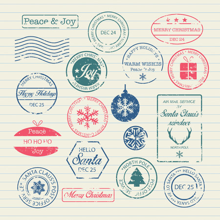 timbre postal: Sellos de Navidad Set Vectores