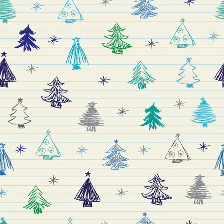Christmas Tree doodles. Seamless pattern. Vector