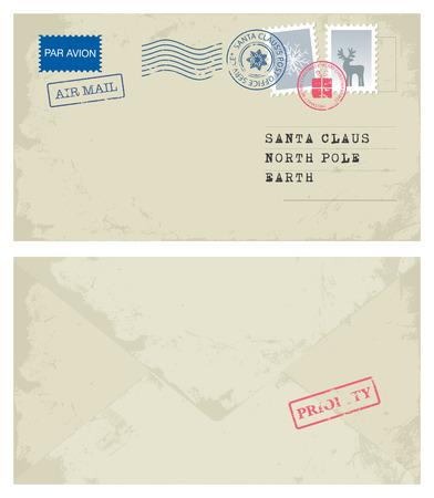 old envelope: Christmas Envelope Illustration