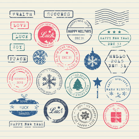 New Year stamps set Vector