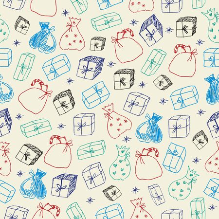 Sketchy gifts. Seamless pattern. Vector
