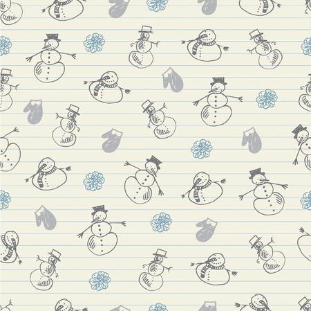 Snowman sketchy pattern Vector
