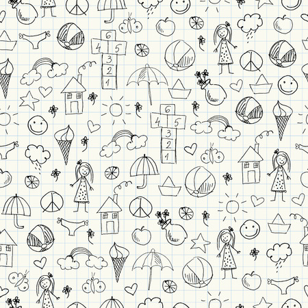 Summer doodles. Seamless pattern Vector