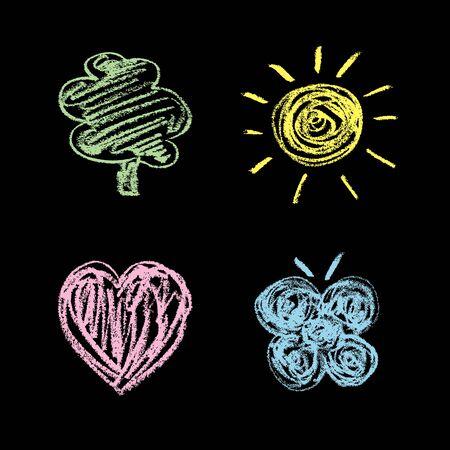 Nature symbols on a chalkboardSet