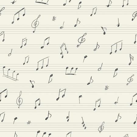 old sheet music: Music seamless pattern with handwritten musical notes