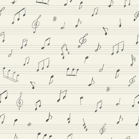 blatt: Musik nahtlose Muster mit handschriftlichen Noten Illustration