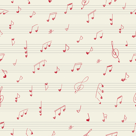 Heart shape musician notes. Seamless pattern Ilustração