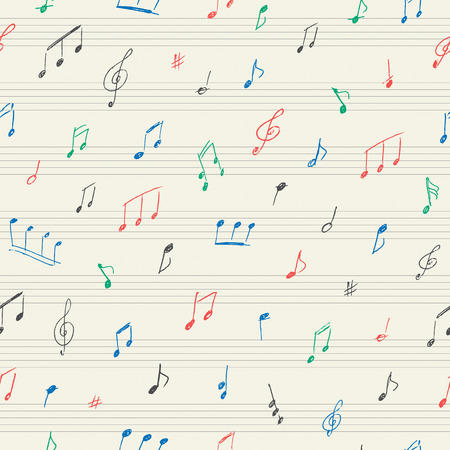 minims: Music seamless pattern with handwritten musical notes