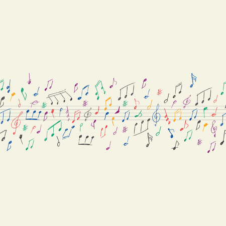 Musical notes seamless Çizim