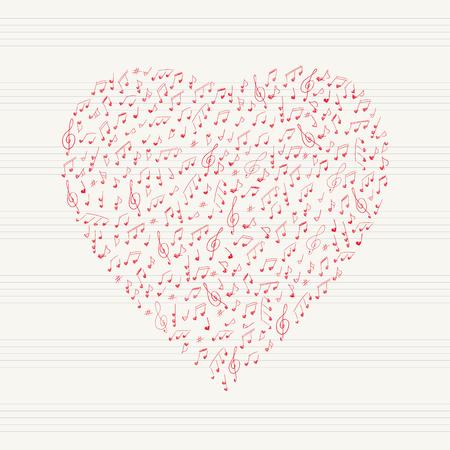 old sheet music: Musical heart