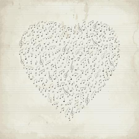 Vintage Musical heart Illustration