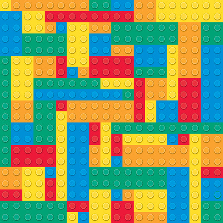 yellow lego block: Building toy bricks. Seamless pattern Illustration
