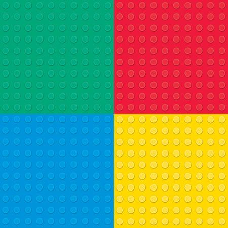 kid vector: Conjunto de cuatro ladrillos de juguete de construcción. Patrón transparente.