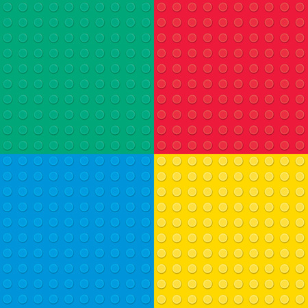 yellow lego block: Set of four Building toy bricks. Seamless pattern.