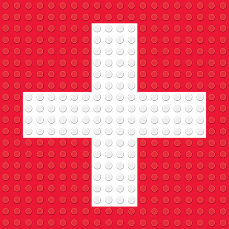 candid: First Aid Symbol created from building toy bricks