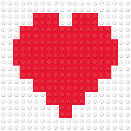 building bricks: Heart Shape created from building toy bricks