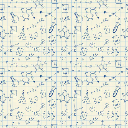 colleges: Chemistry doodles seamless pattern