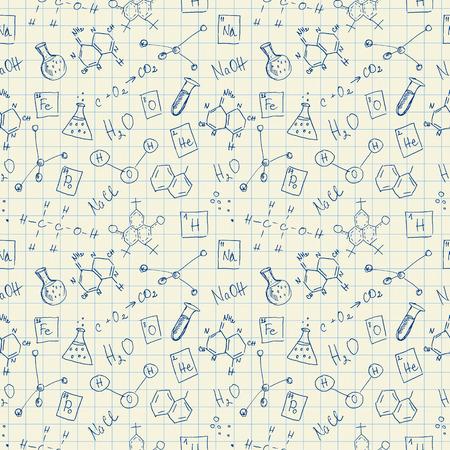 hydroxide: Chemistry doodles seamless pattern