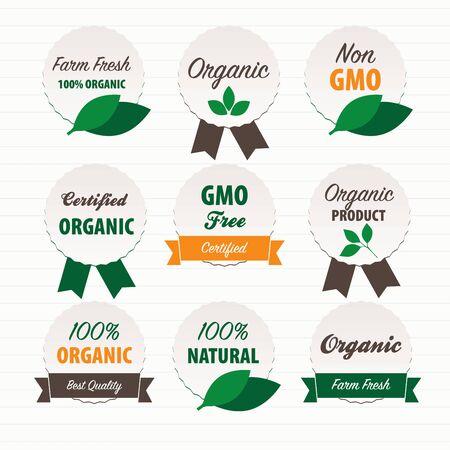 raw: Organic food labels Illustration