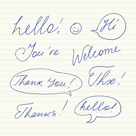 abbreviated: Handwritten short phrases. Hello, Thank You, Welcome, Thanks, Hi, Thx..