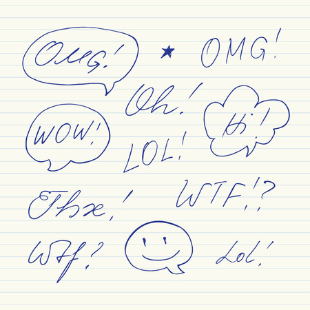 abbreviated: Handwritten short phrases. OMG, WOW, Oh, WTF, Thx, LOL
