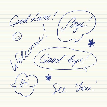 slang: Handwritten short phrases. Good luck, Good bye, Welcome, Bye, Hi, See you.. Illustration