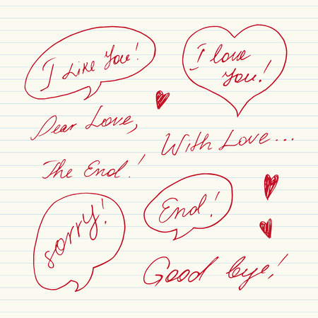 slang: Handwritten Love messages Illustration