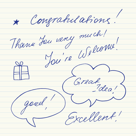 Handwritten short phrases. Congratulations, Thank you, Good, Excellent... Illustration