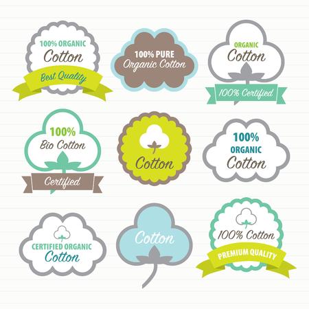 organic cotton: Cotton Certificates. Labels set Illustration