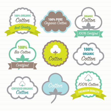 Cotton Certificates. Labels set Illustration