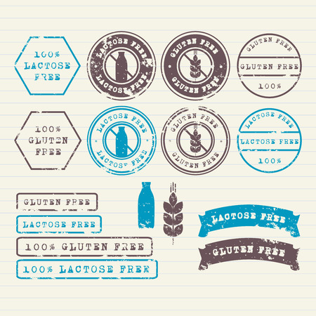 vectors: Gluten and Lactose free stamps set
