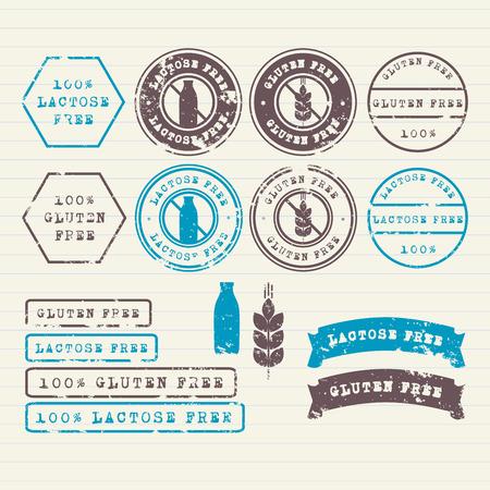 Gluten- und laktosefreie Marken gesetzt Illustration