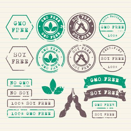 soy free: GMO and Soy free stamps set Illustration
