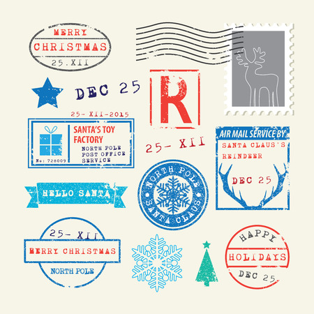 christmas wishes: Christmas Stamps Set Illustration