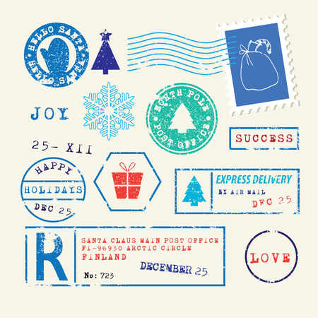 air mail: Christmas Stamps Set Illustration