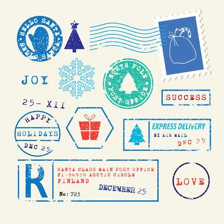 sello: Sellos de Navidad Set Vectores