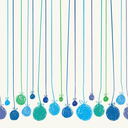 christmas wallpaper: Hand Drawn Christmas Balls. Seamless vector