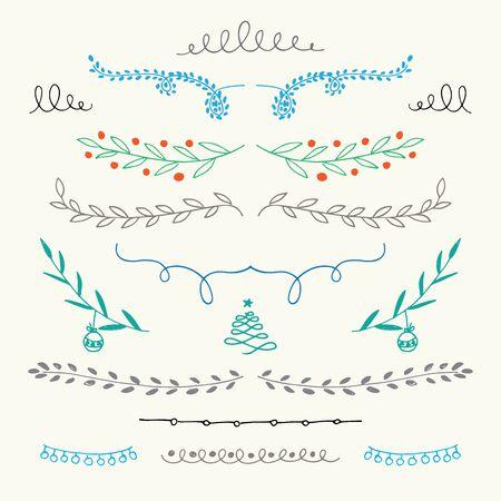 etiqueta: Dibujados a mano de Navidad s�mbolos ornamentales