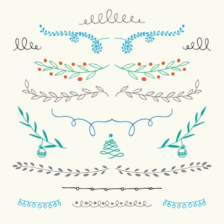 retro label: Hand Drawn Christmas ornamental symbols Illustration