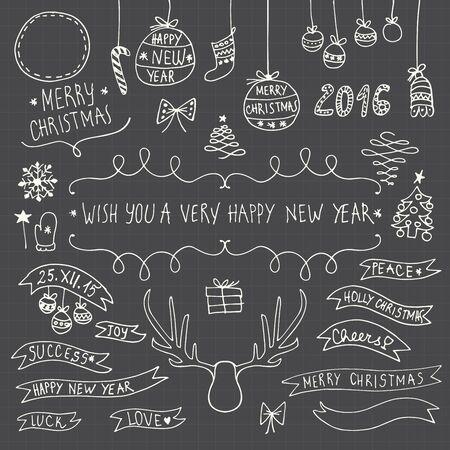 navidad elegante: Dibujados a mano de Navidad símbolos ornamentales